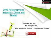 Polypropylene Industry 2013 China and Global