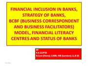 FINANCIAL INCLUSION IN  BANKS