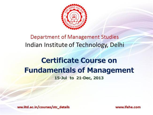 IIT Delhi Certificate Course on Fundamentals of Management |authorSTREAM