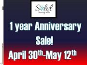 Aniversary Sale April 30th to May 12th!!