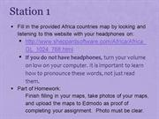 Africa Station Instructions