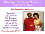 Thelma Pope = My Queen of The Universe (Poetry By Avis Pope)