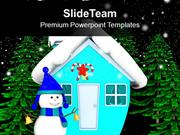 Snowman_In_Front_of_Hut_Night_Scene_Christmas_Eve_PowerPoint_Templates