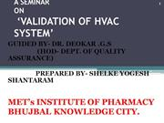 YOGESH SHELKE. A SEM ON HVAC SYSTEM VALIDATION