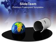 Oil_Barrel_And_Globe_In_Spilled_Oil_Business_PowerPoint_Templates_PPT_