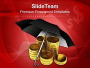 Stack_Of_Dollar_Coins_Under_Umbrella_Business_PowerPoint_Templates_PPT