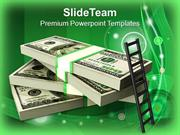 Ladder_On_Stack_Of_Dollars_Finance_PowerPoint_Templates_PPT_Themes_And