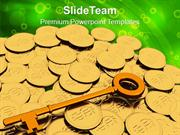 Golden_Key_And_Coins_Finance_PowerPoint_Templates_PPT_Themes_And_Graph