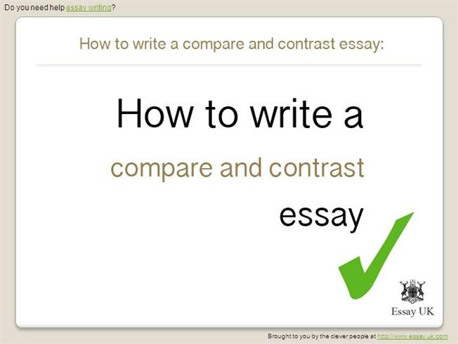 What should be included in the opening paragraph of a compare and contrast essay?
