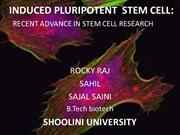 induced pluripotent stem cells : advance in stem cell research