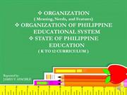 Organization management and State of philippine education