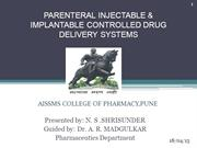 PARENTERAL INJECTABLE & IMPLANTABLE CONTROLLED DRUG DELIVERY SYSTEMS