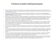 5 Points to consider In Moving Companies