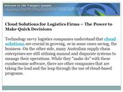 Cloud Solutions for Logistics Firms - The Power to Make Quick Decision
