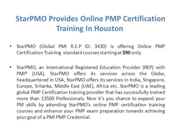 Starpmo Provides Online Pmp Training In Houston Only For 99