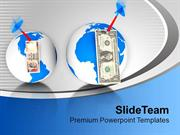 Dollars Over Globe With Dart Finance PowerPoint Templates PPT Themes A