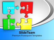 Puzzles With Sales Staff Growth Profit PowerPoint Templates PPT Themes