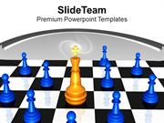 Golden King On Chess Board Leadership PowerPoint Templates PPT Themes