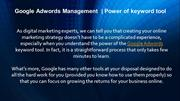 Google Adwords Management  Power of keyword tool