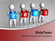 3d Persons Holding Colorful 2013 Cubes PowerPoint Templates PPT Backgr
