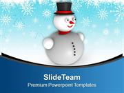3d Snowman With Hat Background Christmas PowerPoint Templates PPT Back