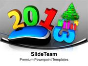 2013 Computer Mouse With Christmas Tree PowerPoint Templates PPT Backg