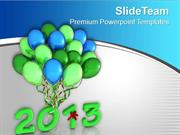 2013 In Light Green With Colorful Balloons PowerPoint Templates PPT Ba