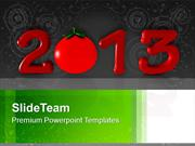 2013 In Red With Tomato New Year PowerPoint Templates PPT Backgrounds