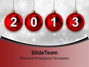 2013 With Christmas Balls New Year PowerPoint Templates PPT Background