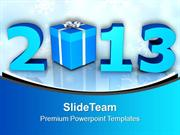2013 With Gifts New Year Celebration PowerPoint Templates PPT Backgrou