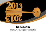 2013 With Golden Key Mirror Image PowerPoint Templates PPT Backgrounds