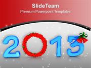 2013 With Wreath In Blue New Year PowerPoint Templates PPT Backgrounds