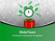 Alarm Clock With Gift Christmas present PowerPoint Templates PPT Backg