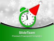 Alarm Clock With Santa Hat PowerPoint Templates PPT Backgrounds For Sl