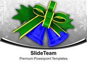 Blue Bells With Green Bow Christmas PowerPoint Templates PPT Backgroun