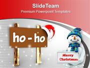 Christmas Board In Browen Ho Ho Text PowerPoint Templates PPT Backgrou