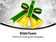 Golden Bells With Green Ribbon PowerPoint Templates PPT Backgrounds Fo