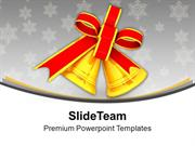 Golden Bells With Red Bow PowerPoint Templates PPT Backgrounds For Sli