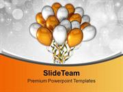 Golden Silver Party Ballons PowerPoint Templates PPT Backgrounds For S