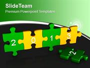 Happy New Year 2013 With Green Yellow Puzzle Pieces PowerPoint Templat