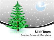 Pine Tree In Snow Winter Night PowerPoint Templates PPT Backgrounds Fo
