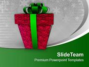 Red Gift Box Wrapped With Green Ribbon PowerPoint Templates PPT Backgr