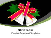 Silver Bells With Pink Ribbon And Green Leaf PowerPoint Templates PPT