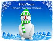 Snowman With Green Hat Christmas Cold Winter PowerPoint Templates PPT
