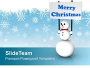Snowman With Merry Christmas Festival PowerPoint Templates PPT Backgro