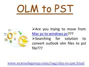 Converter for OLM to PST - Convert Software