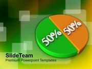 50-50 Pie Chart Over Colorful Background PowerPoint Templates PPT Them