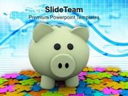 Colorful Puzzles And Piggy Bank PowerPoint Templates PPT Themes And Gr