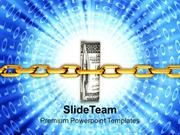 Dollar Bills Tightly Packed With Chain PowerPoint Templates PPT Themes