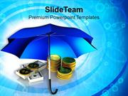 Golden Coins And Banknotes Under Umbrella PowerPoint Templates PPT The